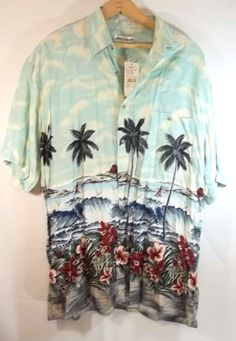 Pierre Cardin hawaiian Camp Shirt M NWT Palm Trees Hibiscus Rayon #PierreCardin #Hawaiian