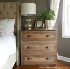 Turn an IKEA RAST dresser ($35) into a Faux Vintage Dresser. Use decorative lattice moulding trim from Home Depot to outline the drawers, Sand then stain with 1 part Minwax Wood Finish in Provincial with 4 parts glaze, then seal with Varathane Matte Polyurethane, add cup pull handles from Lowe's