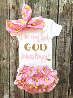 A personal favorite from my Etsy shop https://www.etsy.com/listing/294631627/baby-girl-onesie-god-answers-prayers