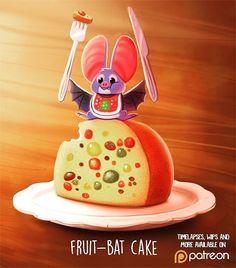 Daily Paint 1479. Fruit-bat Cake #art by Piper Thibodeau