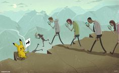 Pikachu rule the people. creative art illustration: people walk down to abyss Pokemon Go, Pikachu, Art And Illustration, Disney Drawings, Cartoon Drawings, Art Drawings, Horse Drawings, Fantasy Boy, Sketch Manga