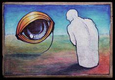 encounter, 2016  Kuba Bartyński  Acrylic on cardboard  #surreal #surrealism #painting #drawing #malarstwo #ilustracja #artminiatory