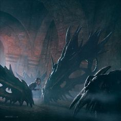 Arya amongst the old dragon skulls underneath the Red Keep. By Michael Komarck for the 2009 A Song of Ice & Fire Calendar