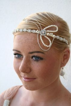 1920s Flapper Style Brow Tiara Headpiece with Rhinestones and Pearls - Unique. $135.00, via Etsy.