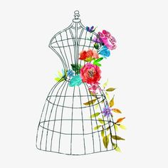 Doodle mannequin with watercolor flowers and butterfly - Buy this stock vector and explore similar vectors at Adobe Stock Watercolor Dress, Watercolor Flowers, Dress Logo, Fashion Drawing Dresses, Vintage Mannequin, Flower Doodles, Doodle Flowers, Boutique Logo, Costume Shop