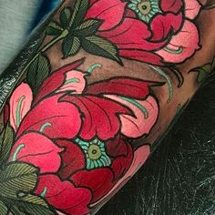 Peony flower tattoo by Elliott Wells peony peonies flower japanese ElliottWells triplesixstudios