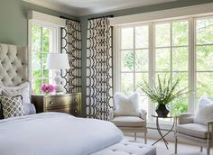 Elegant Bedroom with tuffed bed by Bernhardt Furniture. Designed by Martha O'Hara Interiors.