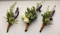Buttonholes using Eryngium, Lavender, Rosemary and Green Bell