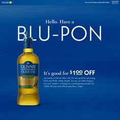 Here's something small for your wallet. Because every little bit helps. Get your Blupon by visiting our Facebook page! http://facebook.com/olivarioliveoil #LittleThings
