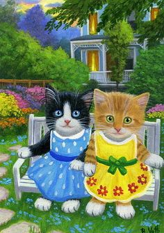 Tuxedo orange kittens cats garden bench summer original aceo painting art #Realism