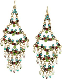 RJ Graziano Layered Scallop Crystal Beaded Chandelier Earrings on shopstyle.com