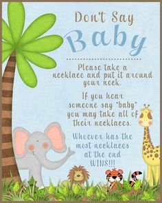 Don't say Baby game baby shower game animal by SunnysideCottageArt