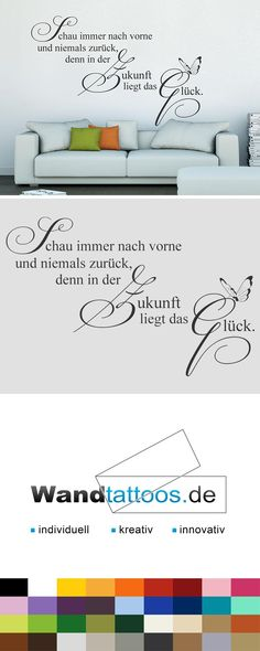 Wandtattoo Always look forward as an idea for individual wall design. Simply select your favorite color and size. More creative suggestions from Wandtattoos.de discover here! Wall Design, Favorite Color, Hand Lettering, Wall Decals, Photo Wall, Diy, Quotes, Inspiration, Verse