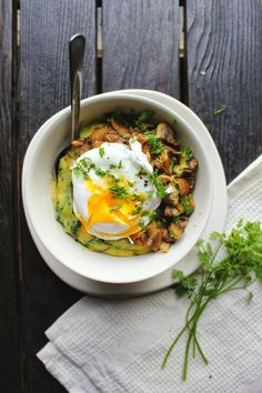 poached egg over spinach polenta with crispy mushrooms herbs poached ...