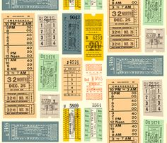 Ticket to Ride fabric by pennycandy on Spoonflower - custom fabric Ticket Printing, Ticket Design, Ticket To Ride, Vintage Ephemera, Vintage Tags, Retro Vintage, Custom Wallpaper, Fabric Wallpaper, Stickers