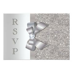 Silver Faux Bow & Diamonds RSVP Announcement. Buy glitter baby shower cards to add some glitter and sparkle to your event! This pretty and sweet looking design looks just like glitter, but, without the mess.