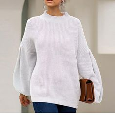 Fashion Lantern Sleeve Sweater Women Loose Knitted Pullover Jumper Casual Female Winter 2019 Fall Loose Femme Sweater