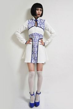 """The theme of the Vive Vagina 2014 A/W collection is """"Blue Willow"""" and inspiration is drawn from patterns found in traditional Chinese ceramics."""