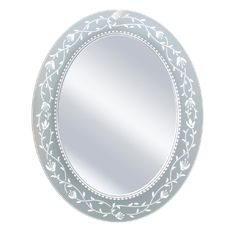 Head West Fuchsia Oval Mirror, 23 by 29-Inch. Etched mirror. Etched border picks up the color of the wall behind it. Use in the bathroom or as an accent to a room. Oval shape design. Frameless mirror.
