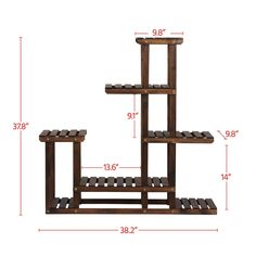 Yaheetech Tiered Wood Plant Flower Stand Shelf Planter Pots Shelves Rack Holder Display for Multiple Plants Indoor Outdoor Garden Patio 38.2 x 37.8 x 9.8in * Click image for more details.-It is an affiliate link to Amazon.