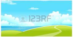 Diese Abbildung ist eine gemeinsame Naturlandschaft. Grüne Landschaft mit Meer und blauer Himmel