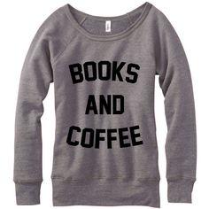 Metallic Gold Print Books and Coffee Wideneck Fleece Sweatshirt... ($33) ❤ liked on Polyvore featuring tops, hoodies, sweatshirts, sweaters, grey, women's clothing, off the shoulder tops, grey sweatshirt, gray sweatshirt and long sleeve pullover