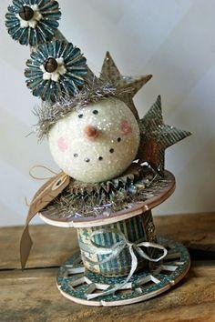 Snowman head is a styrofoam ball, gessod andSizzix Die Cutting Tutorial Christmas Snowman, Handmade Christmas, Vintage Christmas, Christmas Holidays, Christmas Decorations, Christmas Ornaments, Snowman Crafts, Christmas Projects, Holiday Crafts
