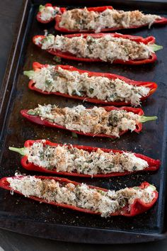 Crab Stuffed Peppers with Lemon-Basil Butter - Recipe