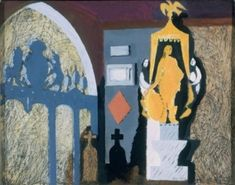 John Piper, Bolingbroke at Lydiard Tregoze, 1940, oil paint, pen and ink on canvas laid on panel, 29 x 37 cm.