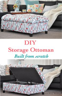 Make your own DIY upholstered storage ottoman - it is super easy! This tutorial covers everything - building the frame and upholstery Diy Furniture Cleaner, Diy Upholstery Cleaner, Upholstery Cleaning, Upholstery Repair, Upholstery Nails, Upholstery Cushions, Furniture Upholstery, Diy Footstool, Upholstered Footstool