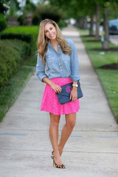 Chambray top with a lace skirt