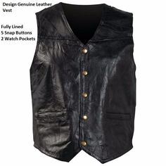 Italian Stone Design Genuine Leather Vest Motorcyclist Leather Wear Fully Lined #ItalianStone