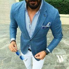 Men's Blue Blazer, Light Blue Gingham Long Sleeve Shirt, White Chinos, Blue Paisley Pocket Square