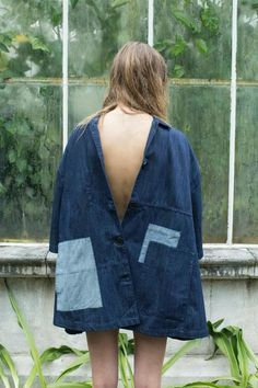 Denim shirt/dress. Oversized and backwards with patches. Questioning the assumed classic shirt.