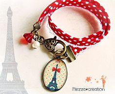 Bracelet ° Tour Eiffel au noeud rouge ° Liberty pois rétro