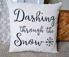 Winter Pillow, Christmas Pillows, Home Decor, Holiday Pillow, Christmas, Throw Pillow, Dashing Through the Snow, Snow Decor, Santas, Snowmen
