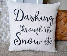 Winter Pillow, Christmas Pillows, Home Decor, Holiday Pillow, Christmas, Throw Pillow, Dashing Through the Snow, Snow Decor, Santas, Snowmen