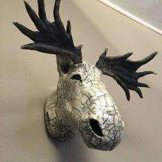 keramische raku hoofd van Caribou trofee van COCORAKU op Etsy