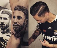 Real Madrid supporter's Sergio Ramos tattoo catches the captain's attention.