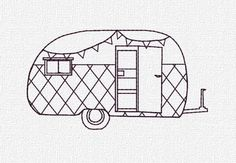 Vintage Embroidery Designs Retro Camper Machine Embroidery Pattern Design by KatieLDesigns - Embroidery Transfers, Learn Embroidery, Machine Embroidery Patterns, Crewel Embroidery, Hand Embroidery Designs, Embroidery Ideas, Embroidery Thread, Vintage Embroidery Patterns, Embroidery Software