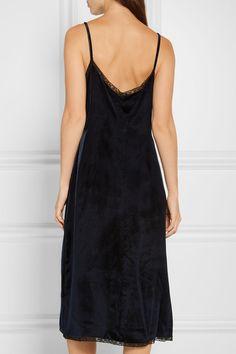 Prada - Lace-trimmed Velvet Dress - Navy - IT46