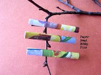 "Bobby pin beads:WendyLynn's Paper Whims: How to make a Paper Bead Bobby Pin - Paper craft tutorial. 8""x 2"" piece of reclaimed paper. (anytging: gift paper, news, magazine, rice, created art, etc.). Roll it over skewer or small straw, secure with glue, varnish over all, secure onto bobby pin."