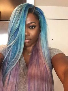 Pastel Blue and Purple Hair for Black Women