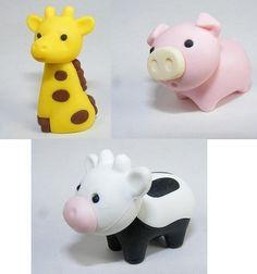 Iwako Japanese Eraser 3pcs. Cow, Pig, Giraffe by Iwako. $3.99