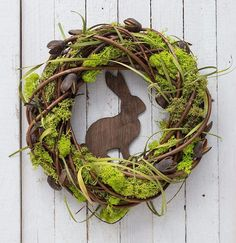 Rustic Easter wreath, spring decorations, natural Easter decor Easter wreath with rabbit spring door decorations moss decor spring wreaths Moss Wreath, Diy Wreath, Grapevine Wreath, Diy Garland, Oster Dekor, Outdoor Wreaths, Selling Handmade Items, Diy Ostern, Spring Door