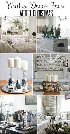 Winter decor ideas for the home and winter decorating ideas. Easy winter decorations for decorating after Christmas.