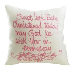Sweet Little Baby Girl Christening Silk Painted Cushion - Unique gift, something special and different for the day!