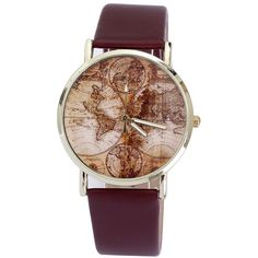 Women Wrist Watch World Map Leather