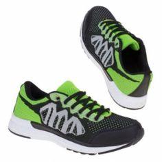 Heren sneakers / sportschoenen zwart neon groen