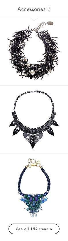 """""""Accessories 2"""" by janjanzira ❤ liked on Polyvore featuring jewelry, necklaces, freshwater cultured pearl necklace, black jewelry, freshwater pearl jewelry, statement bib necklace, black onyx necklace, accessories, colares and yoins"""